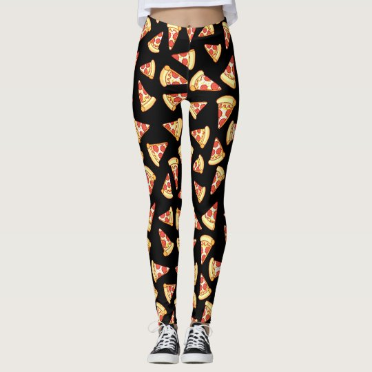 Pepperoni Pizza Slice Drawing Pattern Leggings