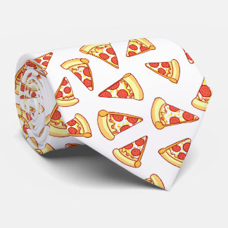 Pepperoni Pizza Slice Drawing Pattern Necktie