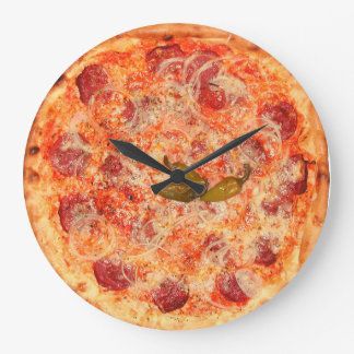 Pepperoni Pizza Time Large Clock