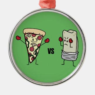 Pepperoni Pizza VS Burrito: Mexican versus Italian Silver-Colored Round Decoration