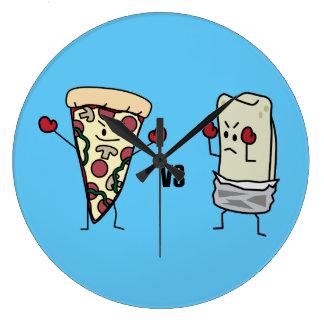 Pepperoni Pizza VS Burrito: Mexican versus Italian Wall Clock