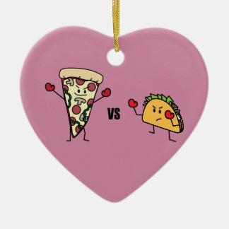Pepperoni Pizza VS Taco: Mexican versus Italian Ceramic Heart Decoration