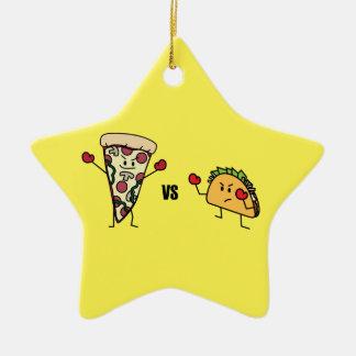 Pepperoni Pizza VS Taco: Mexican versus Italian Ceramic Star Decoration