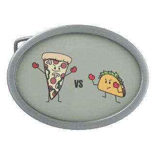 Pepperoni Pizza VS Taco: Mexican versus Italian Oval Belt Buckle