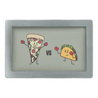 Pepperoni Pizza VS Taco: Mexican versus Italian Rectangular Belt Buckle