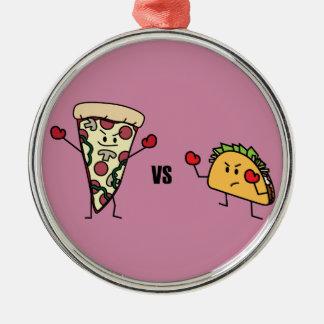 Pepperoni Pizza VS Taco: Mexican versus Italian Silver-Colored Round Decoration