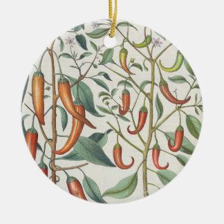 Peppers: 1.Piper Indicum maximum longum; 2.Piper I Round Ceramic Decoration