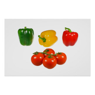 Peppers and tomatoes poster