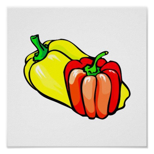 Peppers bright yellow and red graphic print