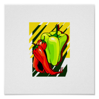 Peppers chili and yellow on yellow bg poster