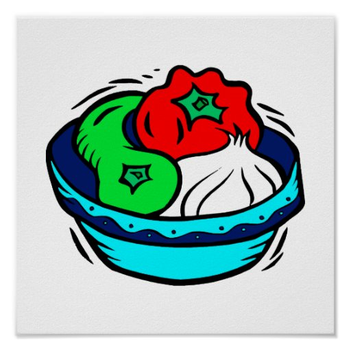 Peppers garlic in blue bowl graphic print