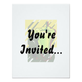 Peppers green and yellow on yellow bg 11 cm x 14 cm invitation card