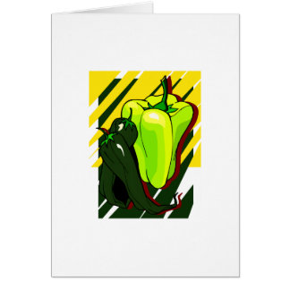 Peppers green and yellow on yellow bg note card