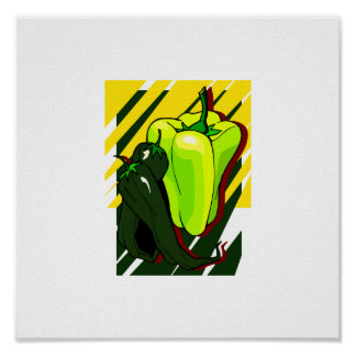 Peppers green and yellow on yellow bg poster