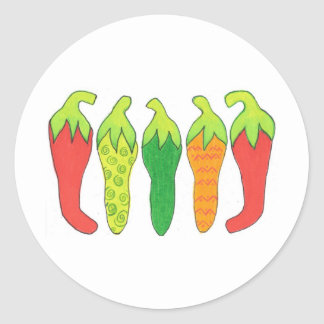 Peppers of Color Classic Round Sticker