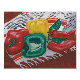 Peppers on Mexican Blanket Print