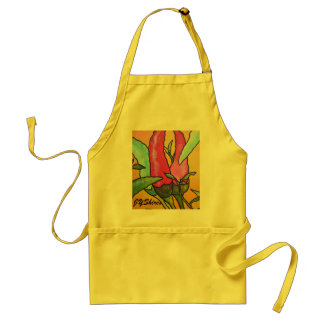 Peppers On Orange Background Apron