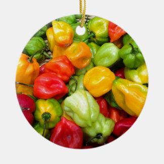 peppers round ceramic decoration