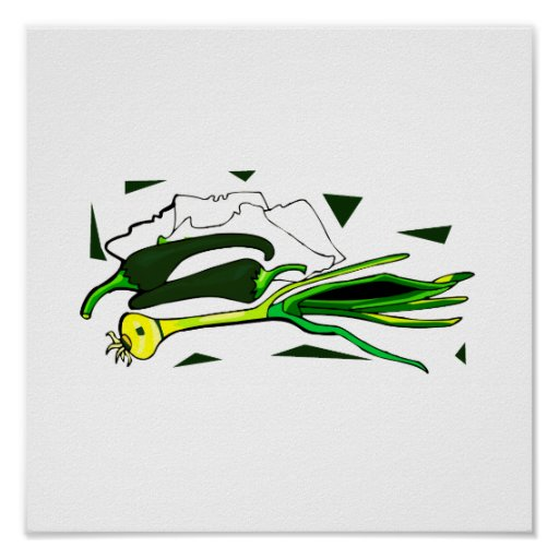 peppers scallions green graphic poster