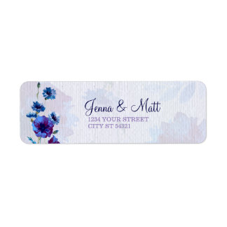Peppy Blue Poppies Address Labels