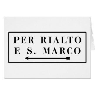 Per Rialto e S. Marco, Venice, Italian Street Sign Card