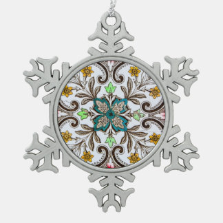 Peranakan Floral Tiles Snowflake Pewter Christmas Ornament