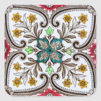 Peranakan Floral Tiles Square Sticker