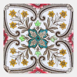 Peranakan Floral Tiles Square Sticker