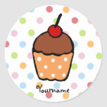 Peraonalized Sweet Chocolate Cupcake Round Sticker