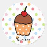 Peraonalized Sweet Chocolate Cupcake Round Stickers