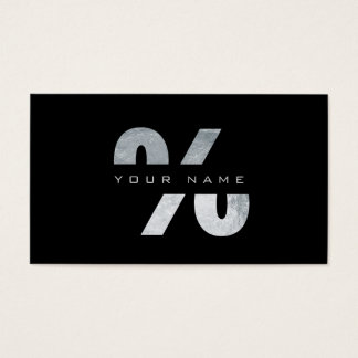 % Percent Mark Silver Luxury Black Vip Business Card