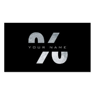 % Percent Mark Silver Luxury Black Vip Pack Of Standard Business Cards