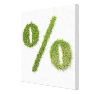 Percentage symbol made of grass canvas print