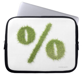 Percentage symbol made of grass laptop sleeve