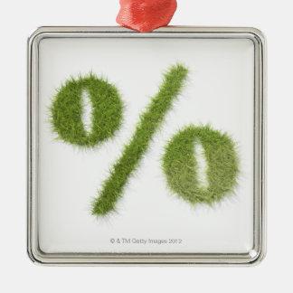 Percentage symbol made of grass Silver-Colored square decoration