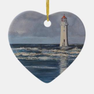 Perch Rock Lighthouse Ceramic Heart Decoration