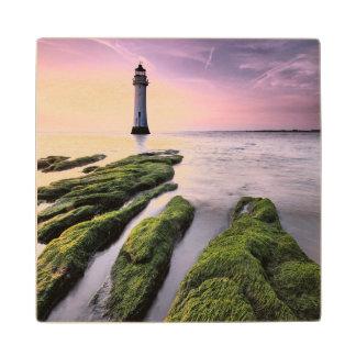 Perch Rock Lighthouse Maple Wood Coaster