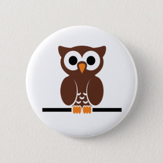 Perched Brown Owl 6 Cm Round Badge
