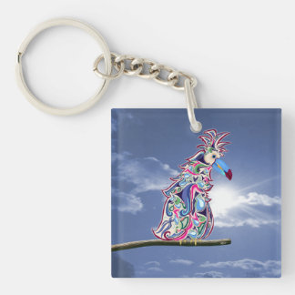 Perched Double-Sided Square Acrylic Key Ring