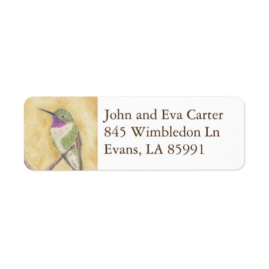 Perched Hummingbird return address label