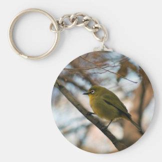 Perched little white eye bird keychains