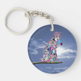 Perched Single-Sided Round Acrylic Key Ring