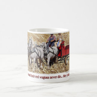 Percheron Draft Horse Farm Wagon Buckboard Basic White Mug