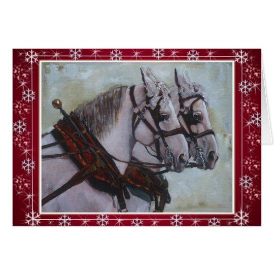 Percheron Draught   Horse Christmas Card red
