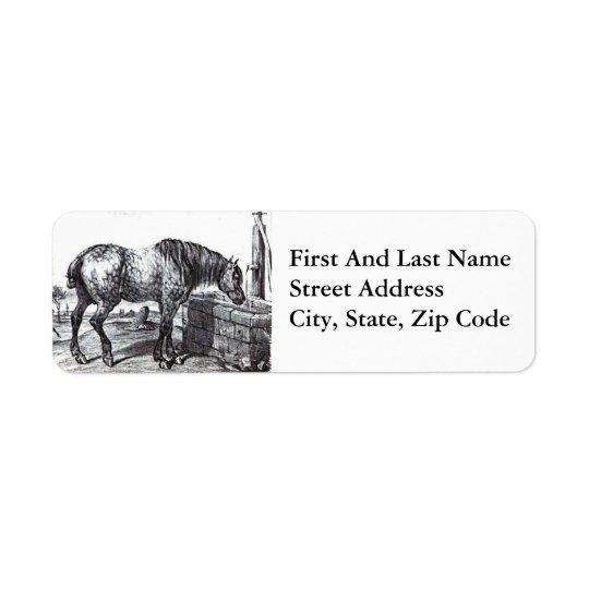 Percheron Horse Vintage Drawing Art Return Address Label