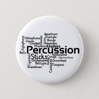 Percussion Word Cloud Black Text 6 Cm Round Badge