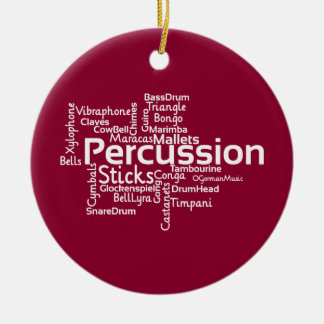 Percussion Word Cloud Round Ceramic Decoration