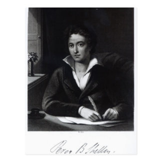Percy Bysshe Shelley, engraved by William Holl Postcard