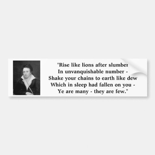 "Percy Shelley ""The Mask of Anarchy"" Bumper Stickers"