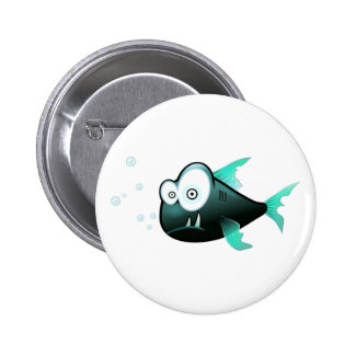 Percy the Piranha Fish 6 Cm Round Badge